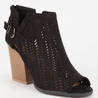 QUPID Laser Cut Womens Heeled Booties | Boots + Booties