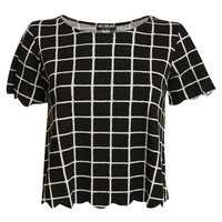 Frankie Grid Check Print Scallop Edge Cap Sleeve Top in Black