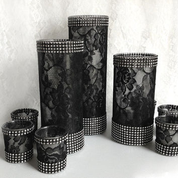 9 piece black lace covered glass vases and votive candles with rhinestone mesh wedding, bridal shower, birthday table table centerpieces