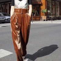 2016 Autumn Winter Womens Fashion Velvet High Waist Wide Leg Pants