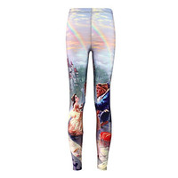 Micro fiber super soft sexy women's slim leggings 3D printed Beauty and the beast fashion sexy pants free size has elastic pants