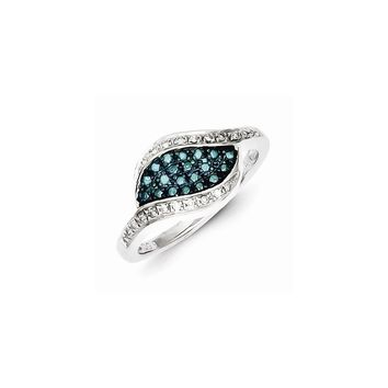 Sterling Silver Blue Diamond Fancy Marquise Ring