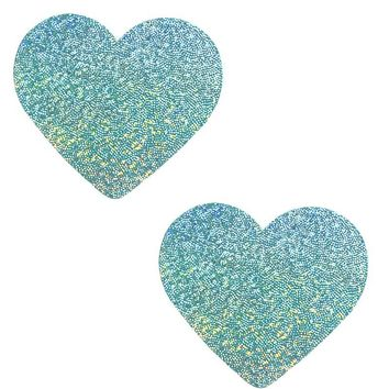 Heart Pasties in Mint Hologram