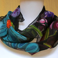 Silk scarf Handpainted chiffon Floral -hand made in the Hudson Valley- unique gift mom wife woman- one of a kind art to wear