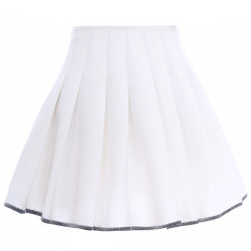 Romwe Pleated High-waist Contrast Trimming Zippered White Skirt