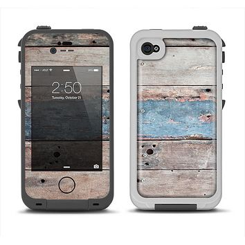 The Multicolored Tinted Wooden Planks Apple iPhone 4-4s LifeProof Fre Case Skin Set
