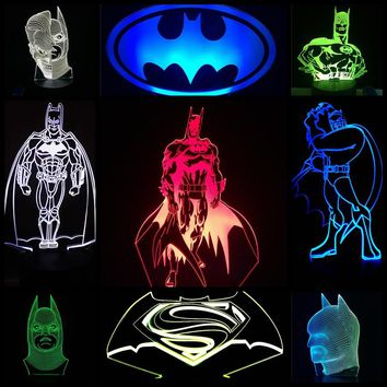 2018 NEW Batman Mask Bat-Signal Superman Modern 3D Color Changing Table Lamp LED Night Light