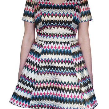 Fit & Flare Dress in Chevron Print Glitter Scuba - Full Bust