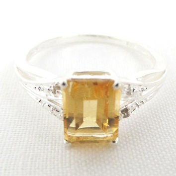 Vintage Citrine Sterling Silver Ring, Emerald Cut 1 CT, Size 9