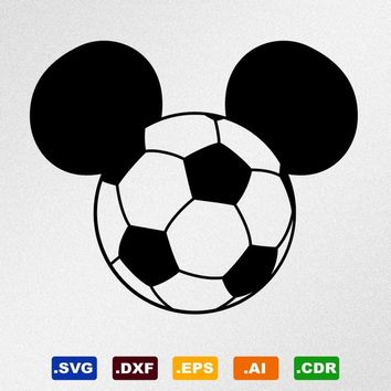 Mickey Mouse Soccer Ball Svg, Dxf, Eps, Ai, Cdr Vector Files for Silhouette, Cricut, Cutting Plotter