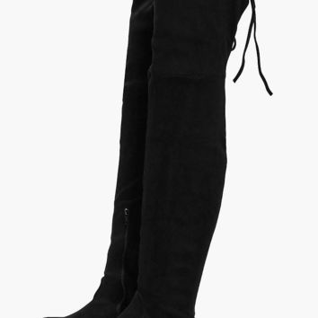 Rachel Flat Tie Back Thigh High Boots | Boohoo