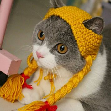 The little girl pigtail Wig Cap Hat Cap Cat Pet Costume Wang meow handmade headwear funny cat dog knitted hat