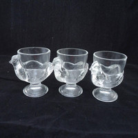 Luminarc Egg Cups, 3 Unused Boxed French Clear Glass Egg Cups, Hen Egg Cups, Chicken Egg Cups