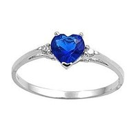 Sterling Silver Ring - Clear CZ - Blue Sapphire Heart - Prong Set - 7 mm x 2 mm, Size 4