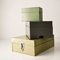 3 Vintage Index Card File Boxes  Instant Collection by BeeJayKay