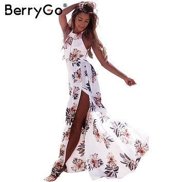 BerryGo Floral print halter chiffon long dress Women backless 2017 maxi dresses vestidos Sexy white split beach summer dress