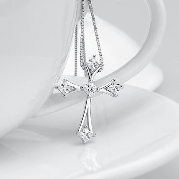 """Sterling Silver Cross Pendant, Necklace, With Crystals, comes with 18"""" Box Chain"""