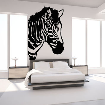 Vinyl Wall Decal Sticker Zebra Head #OS_MB446