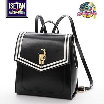 Girls bookbag MSMO 2017 Girl Cute Samantha Vega Sailor moon Backpack LUNA Cat Schoolbag Sailor moon 20th Women Leather Backpack Bookbag AT_52_3