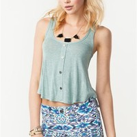 A'GACI Faux Button Down Scoop Neck Tank - TOPS