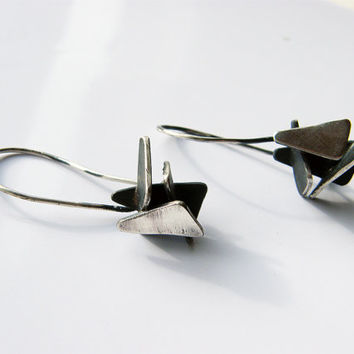 Broken pieces 02. sculptural dangle earrings, unusual artistic sterling silver earrings, contemporary art