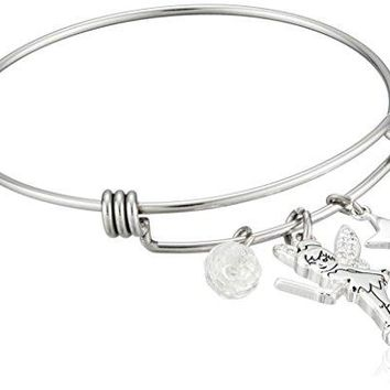 Disney Stainless Steel Catch Bangle with Silver Plated Tinker Bell Star and Crystal Bead Charm Bangle Bracelet