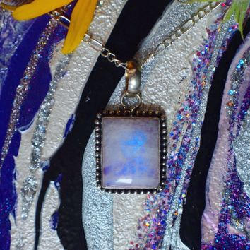 Rainbow Moonstone Necklace(925 Stamped Pendant)