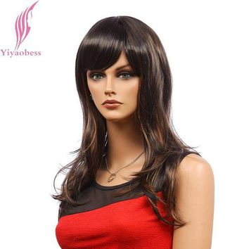 DCCKH0D Yiyaobess 22inch Synthetic Hair Womens Mix Dark Brown Highlight Wig Long Wavy Wigs For African Americans Japanese Fiber