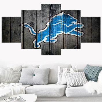 5 Pcs Rugby Football Detroit Lions Logo Paintings Wall Home Decor Picture Canvas Painting Calligraphy For Living Room Bedroom
