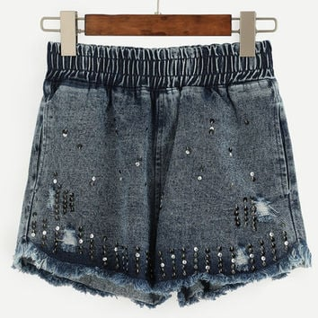 Elastic Waist Sequined Raw Hem Denim Shorts