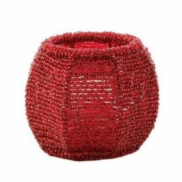 Cherry Red Beaded Candle Holder