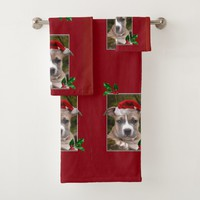 Christmas Pitbull puppy set of bath towels