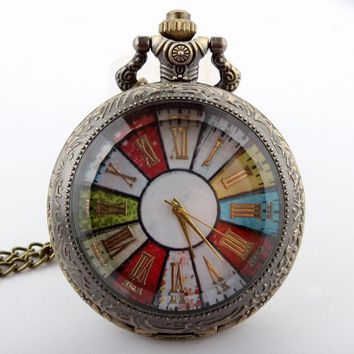 Vintage Bronze Colorful Dial Roman Numerals Quartz Pocket or Watch Necklace