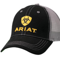 Ariat Logo Patch Black Mesh Back Cap