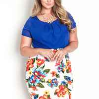 PLUS SIZE PLEATED CHIFFON FLORAL DRESS
