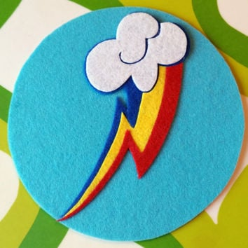 Rainbow Dash Cutie Mark / Magnet - My Little Pony Equestria Girls Sticky Felt Patch / Sticker