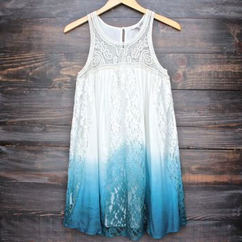Final Sale   Vanity Vintage Lace Flowy Dress   Ombre Teal