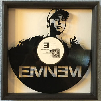 "Eminem ""The Marshal Mathers LP"" hand cut vinyl LP record framed art collectible gift"