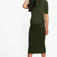 Maternity Adalyn High Neck Cap Sleeve Rib Midi Dress | Boohoo