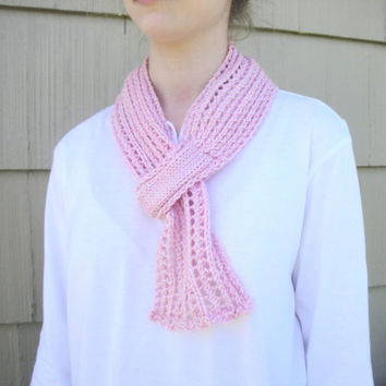Pink Pull Through Scarf, Hand Knit in Merino & Cashmere, Keyhole Loop, Lacy Scarflette
