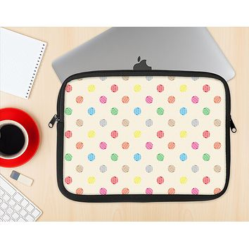 The Tan & Colored Laced Polka dots Ink-Fuzed NeoPrene MacBook Laptop Sleeve