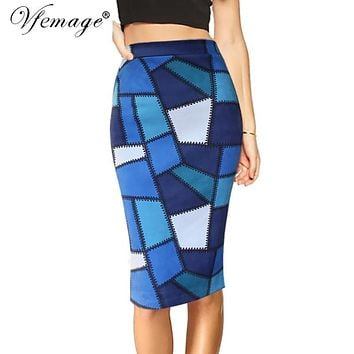 Vfemage Womens Chic Geometric Contrast Colorblock Patchwork High Waist autumn winter Casual Party Pencil Knee-Length  Skirt 4431