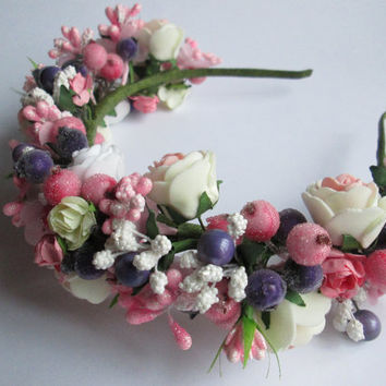 Wedding tiara Floral garland Rose crown Bohemian headband Festival crown Pink wedding tiara Pink wedding Boho flower tiara Boho flower crown