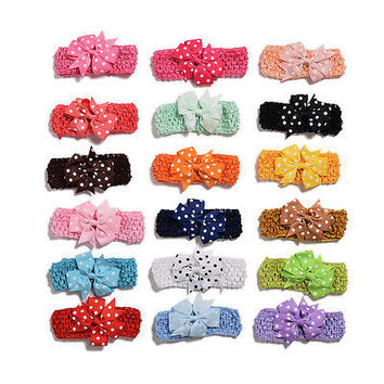 18 Pcs Dot Bow Hairpin Hair Clips Hairband for Baby Girls Hair Accessories M5
