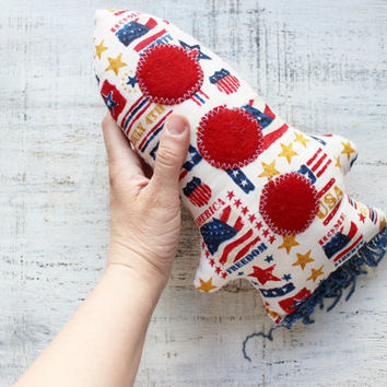 Stuffed toy rocket nursery decor 11 inches primitive soft gift for kid children red white