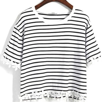 02eb5b07d9e White Striped Crop T-Shirt with Appliques from Augustine's