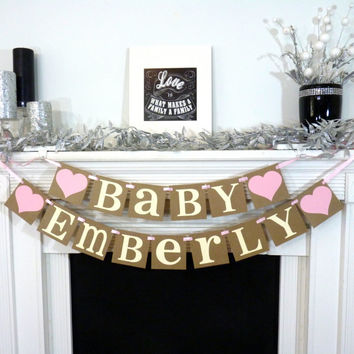 Baby - Custom Name Banner / Baby Shower / Nursery Sign / Baby's Name / Personalized Last Name / Nursery Sign / Wall Art / Nursery Garland