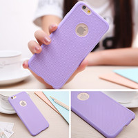 Purple Ultra Thin Soft Silicone Rubber Grid Phone Back Cover Case For iPhone 5 5S SE 6 6S 6 Plus 6S Plus