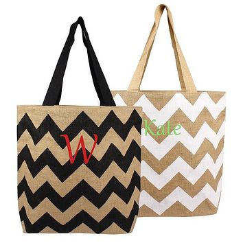 Personalized White / Natural Chevron Jute Tote Bag