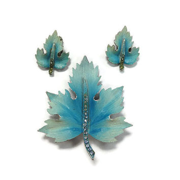 1950s Jewelry Set, 1960s Jewelry Set, Vintage Blue Enamel Maple Leaf Brooch and Clip Earrings Set with Rhinestones, Demi Parure